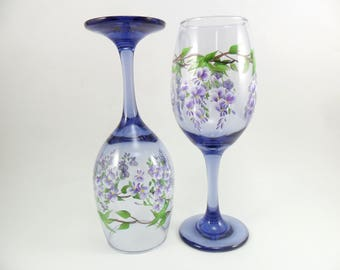 Lavender Wine Glasses Hand Painted Lavender Wisteria Flowers Set of 2