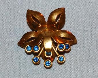 Rhinestone Dress Clip, Art Deco Blue, Bridal Wedding Sparkling, Vintage old jewelry