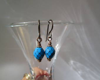 Tiny Affordable Blue Turquoise Czech Snake Bead Earrings with Hypoallergenic Niobium Ear Wires & Opaque Blue Simple Czech Glass