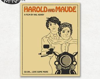 HAROLD AND MAUDE Movie Poster, Fine Art Print (beige version)