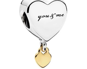 Authentic Pandora Two Hearts Dangle Charm 796558