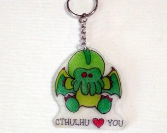 Baby Cthulu Hearts You, Cthulu Keychain, Chibi Cthulu, Cthulu Loves You, Vote for Cthulu, Cthulu Hugs