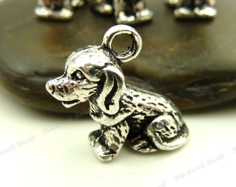 6 Dog Charms ( 3D ) 13x10mm Antique Silver Tone Metal - BE8