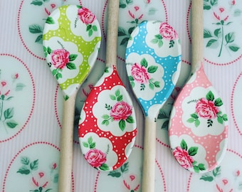 Shabby Chic Floral decoupaged wooden spoon