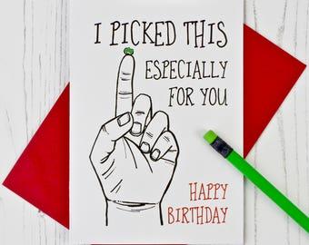 Nose Picker Birthday Card