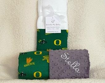 University of Oregon Baby Toddler Name Minky Blanket Gift Set Football Basketball PERSONALIZED Arkansas Oaklahoma Clemson