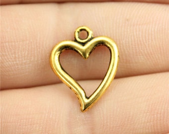 9 Open Heart Charms, Antique Gold Tone Charms (1C-157)
