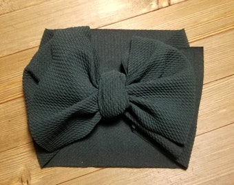 Stretchy forest green waffle headwrap