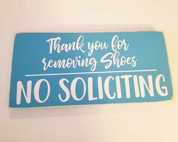 """12x6"""" Thank You For Removing Shoes Wood Sign - No Soliciting - Do Not Disturb - Home Decor - Front Porch Decor"""