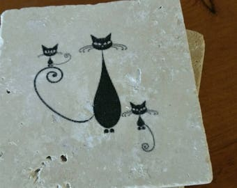 "Cat Coasters, Drink Coasters, Tile Coasters 4"" x 4"" Tumbled Stone"