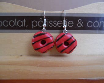Red donuts polymer clay pierced earrings