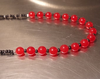 Carnelian, Sterling Silver, and Wood Beads Necklace