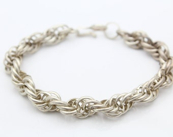 "Sterling Silver French Rope Charm Bracelet Prince of Wales 17.6g 7"". [6685]"