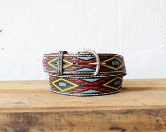 Geometric Southwestern Belt • Saddle Leather Belt • Tooled Leather • Belt Black Leather Belt • Painted Leather Boho Belt • Black Belt |BT240