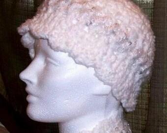 Handmade Crochet White Cloche / Beanie / Snow / White Hat with mettalic silver