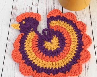 Chicken trivet,orange,yellow,purple,Cinco de Mayo,Halloween,party decoration,table decor  table protector,hotpad