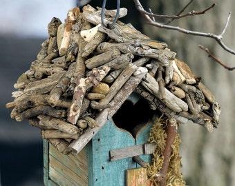 Reclaimed Wood & Driftwood Birdhouse