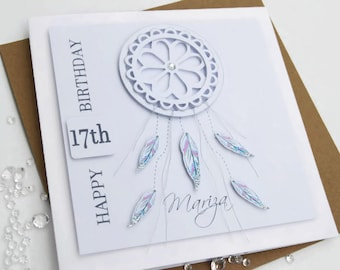 Birthday Card Personalised 16th 17th  18th  21st 30th 40th Dreamcatcher