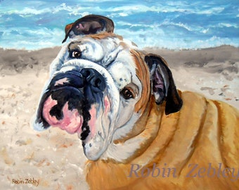 """Custom Pet Portrait Oil Painting, Personalized Dog Portrait, English Bulldog or Any Breed, 16"""" x 20"""""""