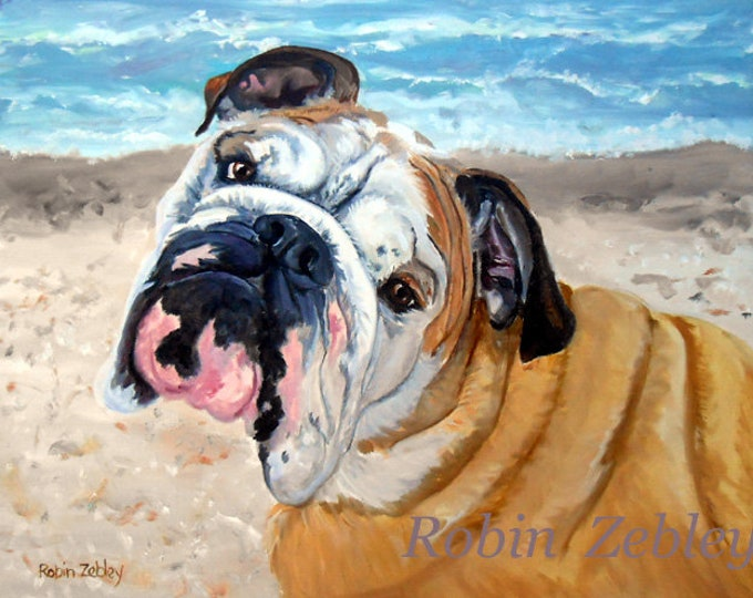 "Custom Pet Portrait Oil Painting, Personalized Dog Portrait, English Bulldog or Any Breed, 16"" x 20"""