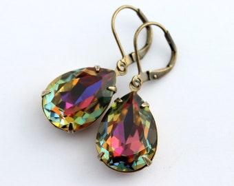 Swarovski Volcano earrings, rainbow earrings, Swarovski earrings, 18x13 pear earrings, multicolor earrings, Volcano earrings, Fall earrings