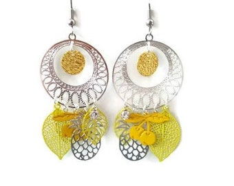 Yellow and Silver earrings, Bohemian, cherry prints and pineapple, gypsy earrings, women, gift for her, summer jewel, fantasy