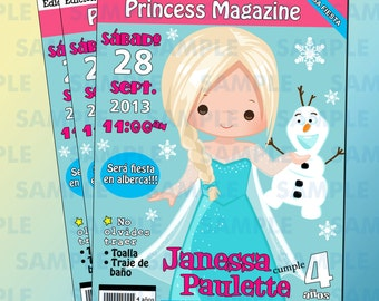 Anna Magazine Party Invitation,Frozen Invitation,Frozen Party,Frozen Birthday Party,Print your own,Magazine Cover invitation,Anna Invitation