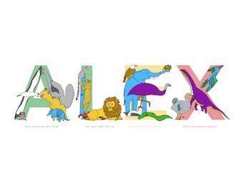 Animalphabet custom name print - any name using an illustrated animal alphabet