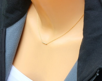 Minimal Gold Bar Pendant / dash necklace / Perfect Layering Necklace  / Super Skinny Bar Necklace / Gold, Silver, Rose Gold / Dainty Bar