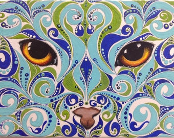 ACEO Reproduction Blue and Green Swirl Cat