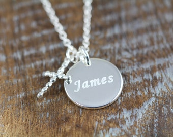 First Communion Gift for Boys Cross Necklace , Name Necklace for Boys , Personalized Jewelry