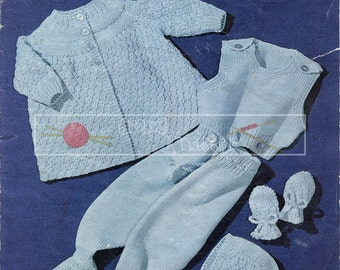 Baby Pram Set DK 0-6 months Sirdar 264 Vintage Knitting Pattern PDF instant download