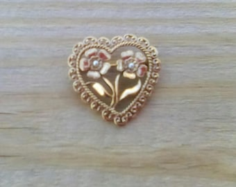 Vintage Gold Toned Heart Brooch Pin with Faux Pearl Centered Flowers Scroll Edge