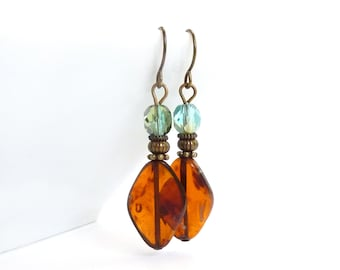 Amber Brown Earrings - Aqua Blue - Wire-wrapped Dangles - Picasso Czech Glass Diamond Shaped - Bohemian Earrings
