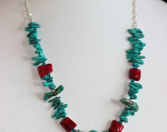 Turquoise and Red Coral Statement Necklace