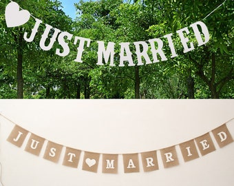 Burlap Just Married Banner Jute ,Wedding Decor,Card Board Jute Wedding Decorating