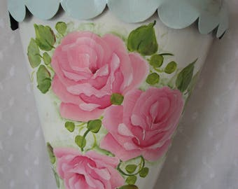 Wall Pocket Holder Hand Painted Pink Roses Cottage Chic Home Decor