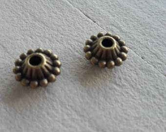 Set of 4 beads separator patterned metal bronze finish