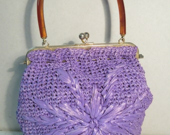 Vintage 1950's Lilac / Purple Raffia Handbag With Lucite Handle & Chocolate Silk Interior - Lovely!!
