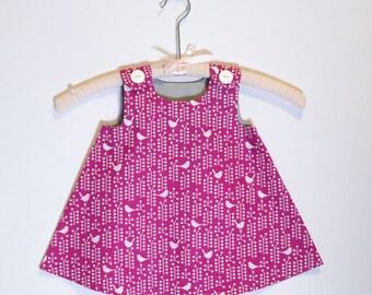 Bird Dress  - Bird Toddler Dress, Baby Dress, Girls Dress, Summer Dress, Spring Dress, Raspberry Dress, Girls Outfit, Pinafore Dress
