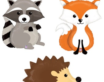 Woodland Balloons Raccoon Fox Hedgehog Woodland Party Mylar Balloon Helium or Air Woodland Creatures 1st Birthday Baby Shower
