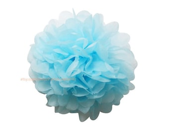 Baby Blue Tissue Paper Pom Pom 1 Small 6 inch Tissue Paper Flowers For Wedding Nursery Shower Party Decoration