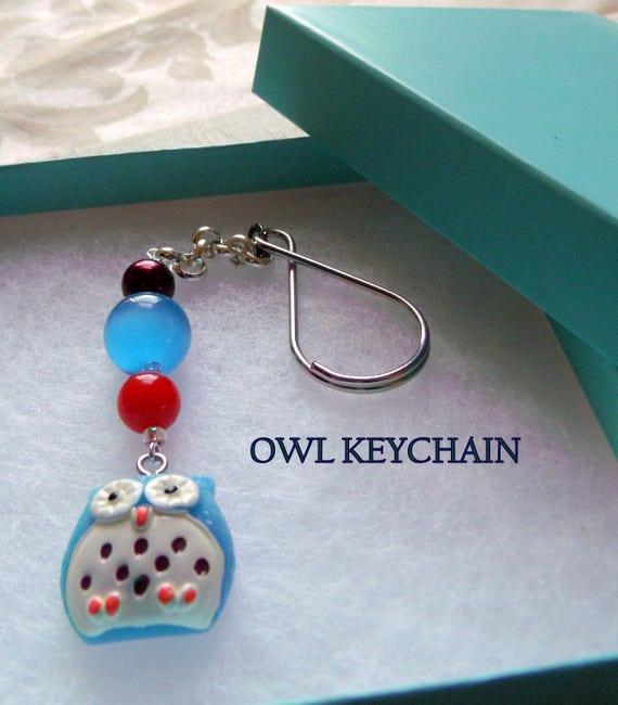 Aqua resin owl  Keychain - owl zipper pull -  whimsical earrings -  orange gem beads - fused glass gift set  - owlishly cute earrings