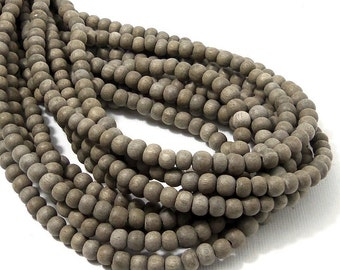Unfinished Graywood Bead, 4mm - 5mm, Round, Small, Natural Wood Bead, 16 Inch Strand - ID 2160