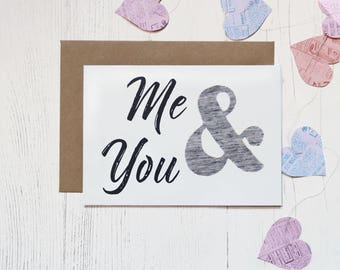 Love Card - Me & You - Pattern Fabric - Anniversary