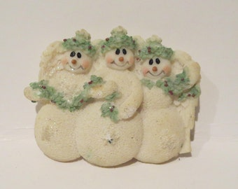 Snowmen Angels Brooch