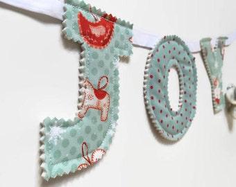 Christmas decorations / Christmas garland / Joy / Christmas bunting / festive bunting / holiday decoration / teal decor / cute christmas