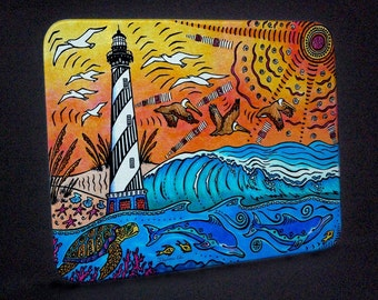 Hatteras Experience Cutting Board with Lighthouse & Ocean Artwork