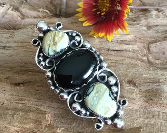 """7 Dwarfs natural turquoise ring with black onyx, Sterling Silver, Artisan Handmade, Boho Chic, Southwestern style, 2  3/4"""" long, size 9"""