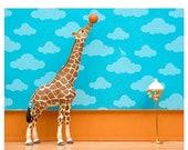 30% OFF SALE Giraffe art print with basketball: Standing Tall